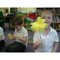 We made paper flowers for our vases