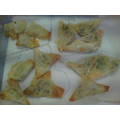 Some of our finished filo samosas!