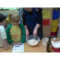 Mrs Stokes showed us how to hold the bowl and stir