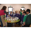 Claire Williamson working with the children