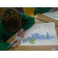 We coloured the sea...(coast)