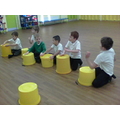 We practised on the bucket drums