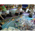 We sorted the bottles by colour and type
