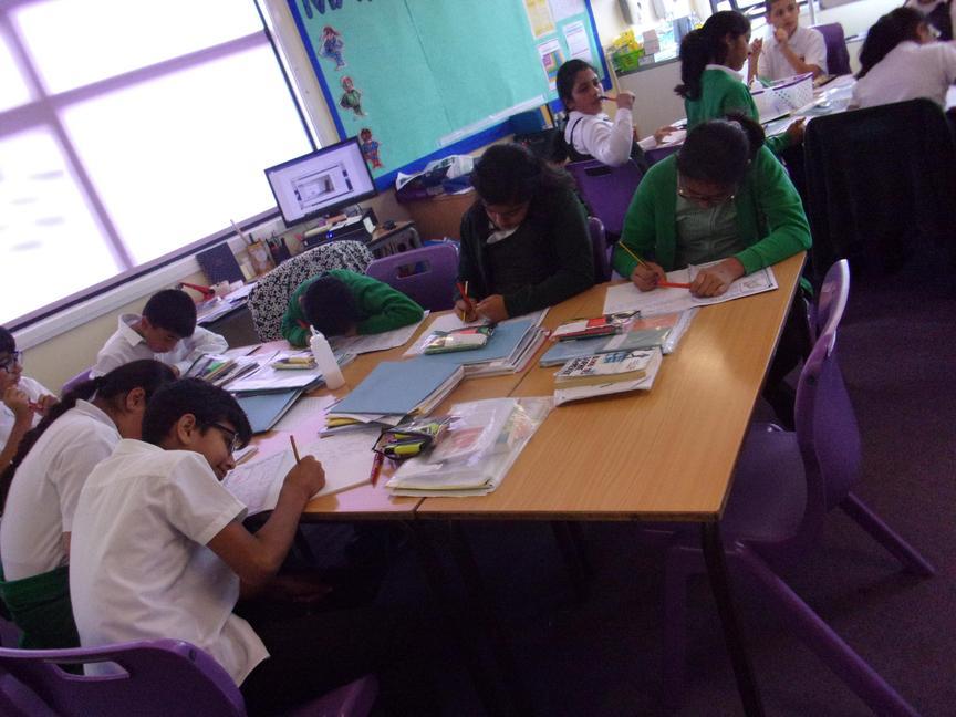 Yera 6 working on Mayan numbers