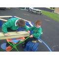We used the wheelbarrow
