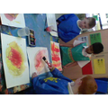 We made wet on wet watercolour sunshines