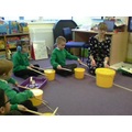 We explore the parts of the drums and their sounds