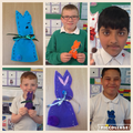 Look at our Easter bunnies we sewed!