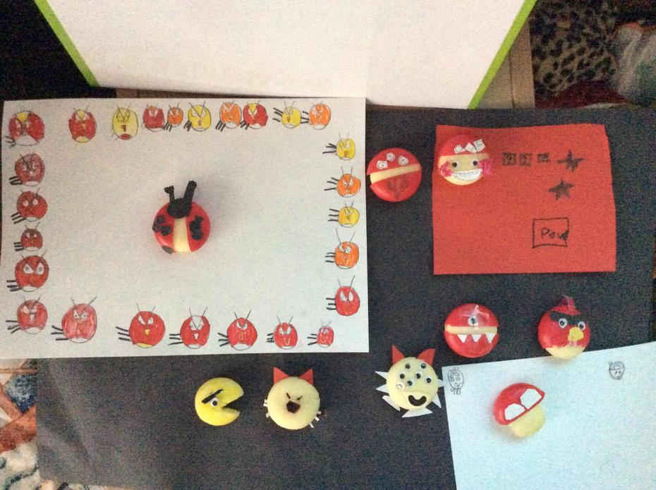 We were set the challenge to create some artwork using Babybels. Here are our masterpieces