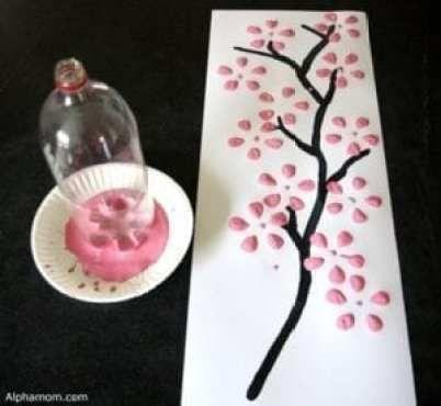 Painting and printing with a plastic bottle