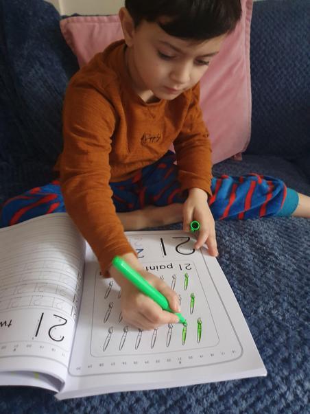Zackariah writing numbers