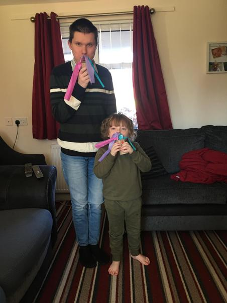 Nathan & big brother made breathing wands
