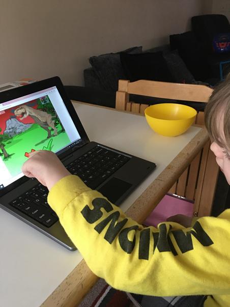 Nathan playing T-Rex phonics game