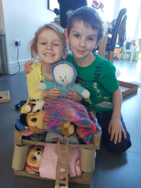 Bella & Ethan made bunk beds for their bears
