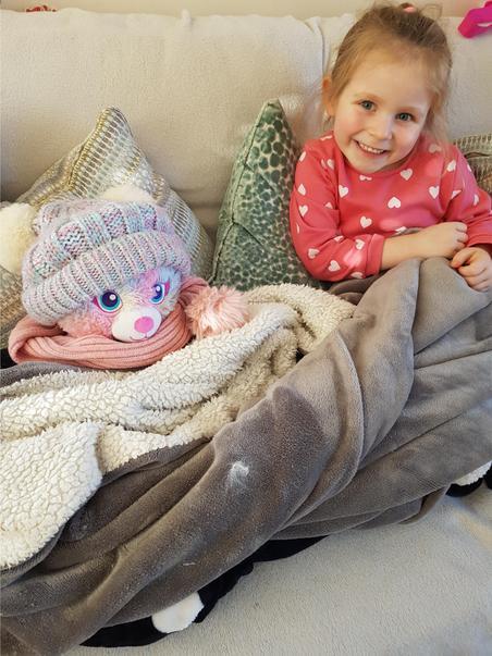 Orlagh warming up her teddy