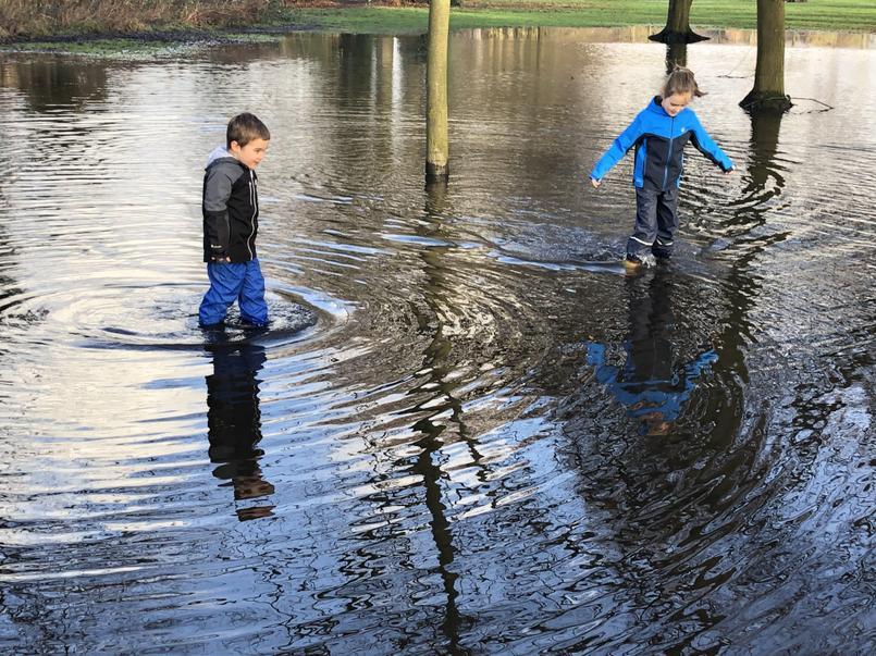 Tom & Molly puddle paddling!