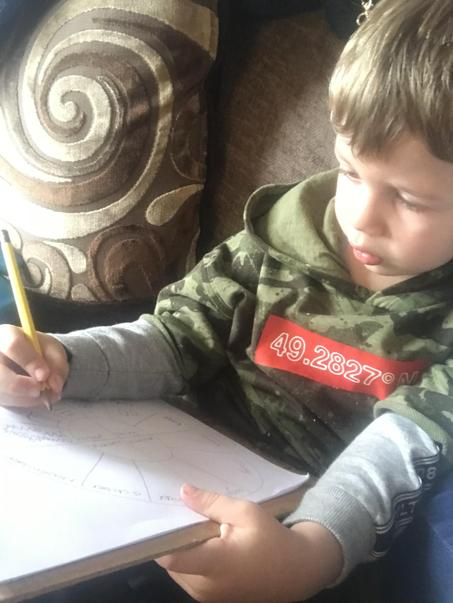 Alfie drawing his season wheel