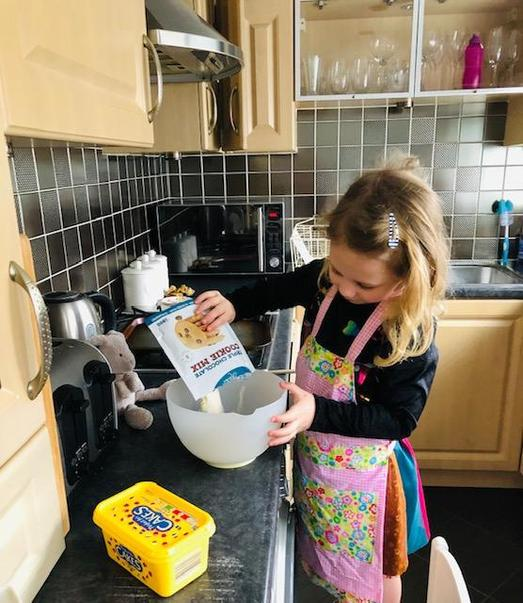 Phoebe busy baking cookies