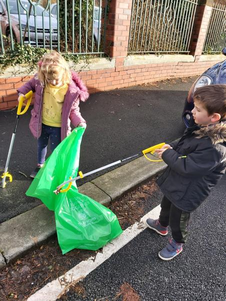 Litter pickers hard at work