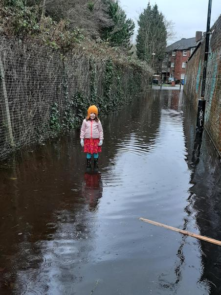 Glen exploring puddles