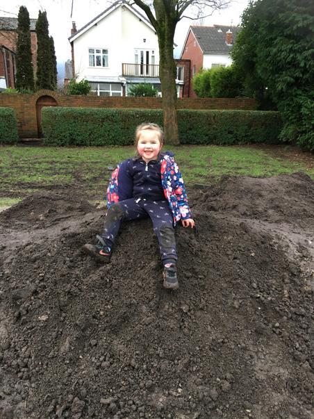A very happy, muddy Scarlett!