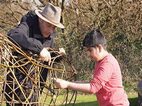 Helping the willow artist on Greenspaces.