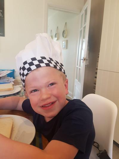 Chef Percy helping Mum cook dinner