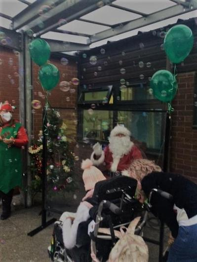 Father Christmas welcomed the children to school.