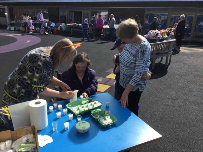 Planting some seeds at the Spring Fayre