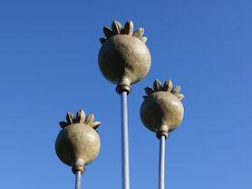 Bronze poppy head sculpture.