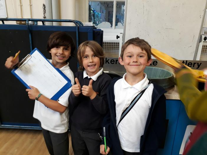 Children carrying out food waste survey