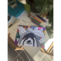 Elliott's sloth in the style of Romero Britto.