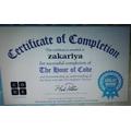Zakariya has received his coding certificate!
