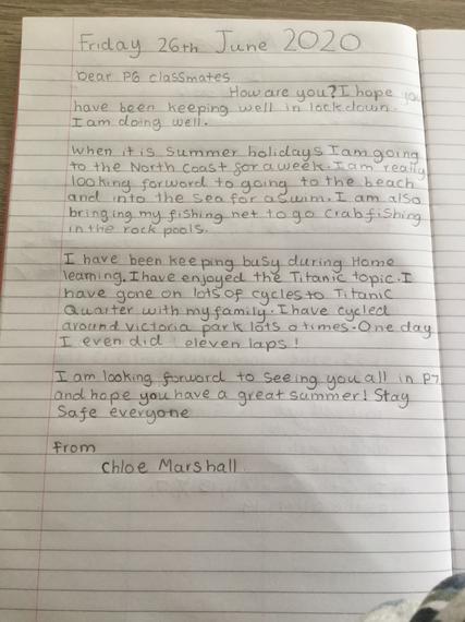 Chloe's beautiful letter