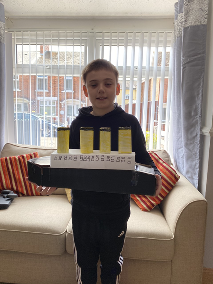 Nathan with his fantastic model of Titanic