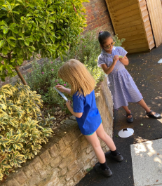 The girls have been measuring leaves this week.