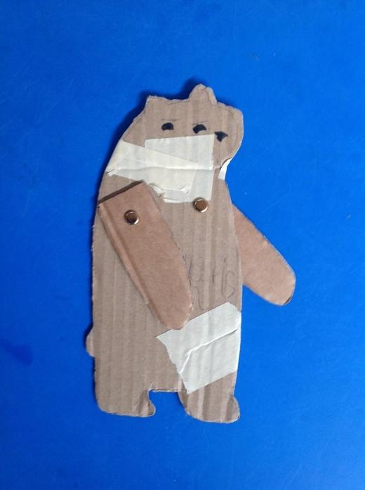 Our bear puppet, with movable arms!