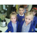 Class 1s winning team cook their vegetable soup!
