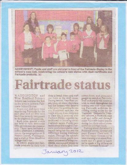 First Fairtrade Primary School in Clitheroe area!