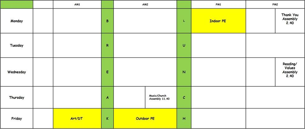 Our class timetable. PE on Monday and Friday. Art/DT on Friday.