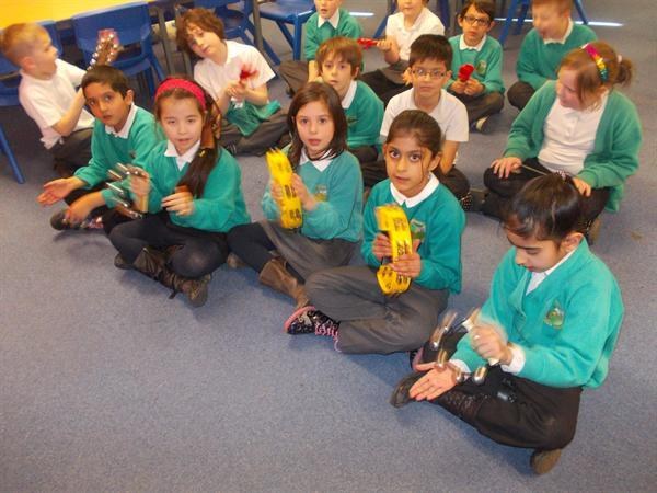 Playing and performing rhythms with instruments!