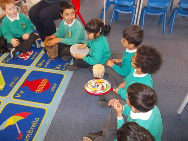 Playing rhythms using the percussion instruments