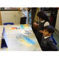 Making the Great Wave using pastels
