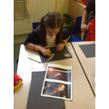 Creating meteorite pictures with chalks and pastel
