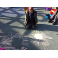 Independent play - firework drawings with chalk