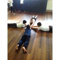 Rehearsing their Bollywood dances