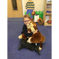 Enjoying our time with Sam the attendance dog!
