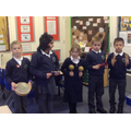 Performing their composition to the class