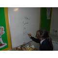Practising spellings.