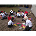 Children enjoyed decorating the bricks in teams!